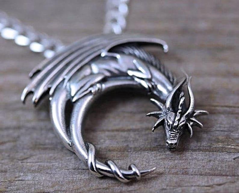 Sterling silver dragon necklace, Mens Necklace  Silver Dragon  Choose  Italian Chain Men women  Dragon on moon  dragon Jewelry