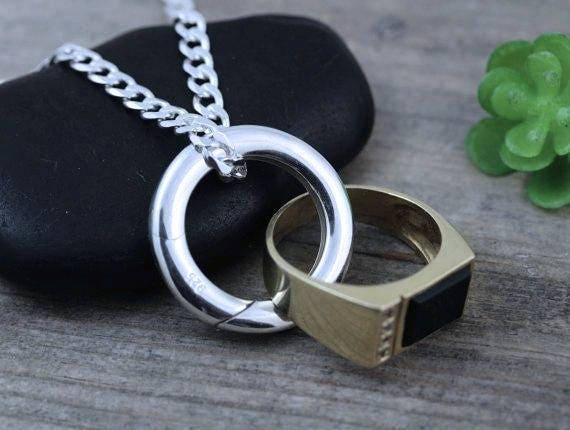 Sterling Silver Man Ring Holder Necklace Mens Wedding Ring Etsy