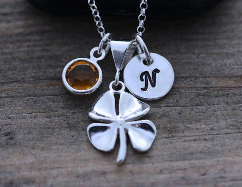 a39d198dd637 STERLING Silver Four leaf Clover Necklace Personalized