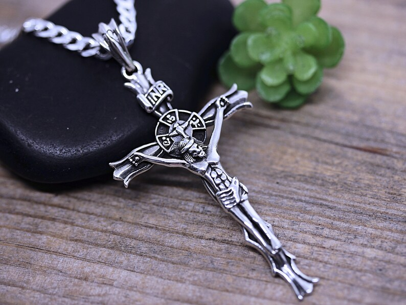 Standing Sterling Silver Crucifix Necklace, Silver Jesus Cross Necklace,  With Virgin Mary at the back  Choose Italian chain