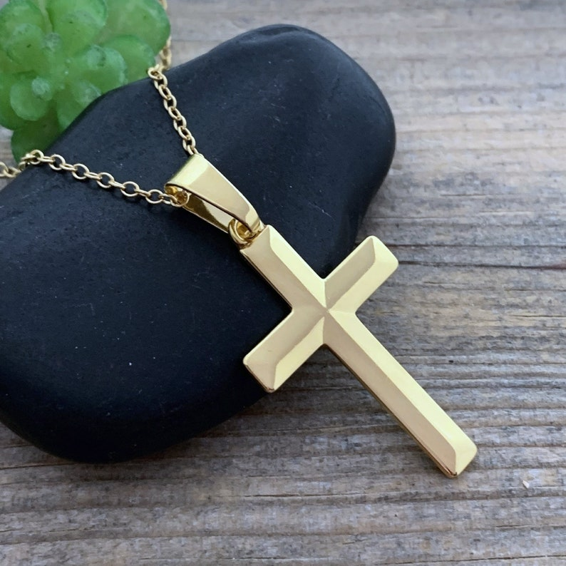 Laser engraved Cross Necklace EXCL Personalized Cross Necklace Gold Choose Chain Elegant Classic Cross Customized Cross necklace Gold