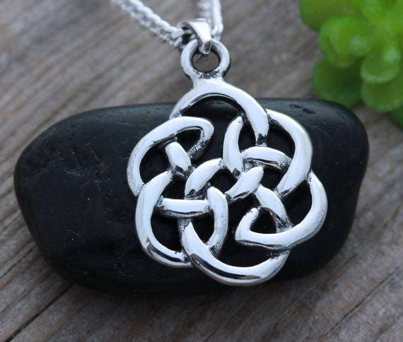 Celtic Knot Necklace Sterling Silver Celtic Knot Love Etsy