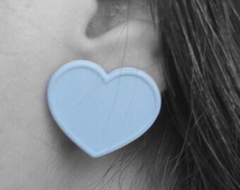 Vintage White Heart Pierced Earrings