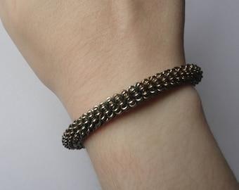 Vintage Silver Tone Chain Flexible Cuff Bracelet