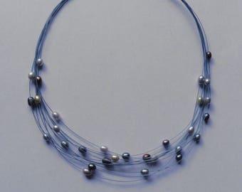 Vintage Blue Multi-Strand Short Beaded Necklace