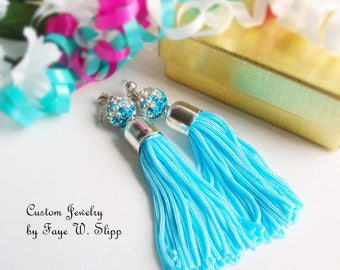 Turquoise Tassel Earrings, with Tri-Color Sparkle Sambala Bead andGold Plated  or Silver Plated Bead Caps and Stud Posts