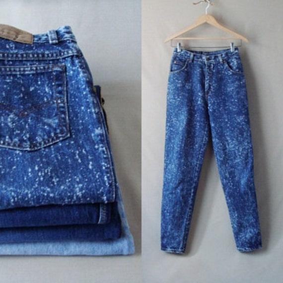 80's Levi Strauss & Co Blue Jeans, Dark Blue Acid