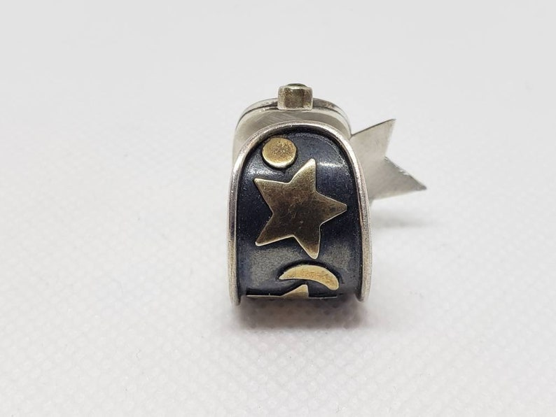 Sterling Silver Star Stones Cosmic Soldered Band Ring Steampunk Recycled Earring Converted to Slightly Adjustable Ring Women/'s Size 7.25