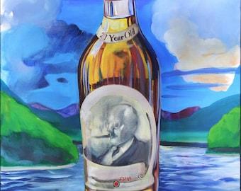 Pappy Van Winkle Art Print Original painting Blue Orange