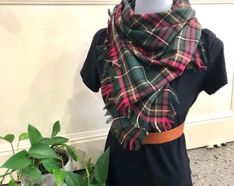 Bandana Style Blanket Scarf - Flannel