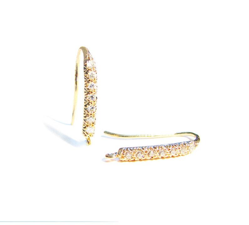 CZ Gold Vermeil Ear Wires 1 Pair Diamond Cut Line Vermeil Earwires Cubic Zirconia EW118-YV