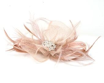 Rose Gold Blush Pink Cream Sequin Feather Fascinator Pillbox Hat Races Clip 4216