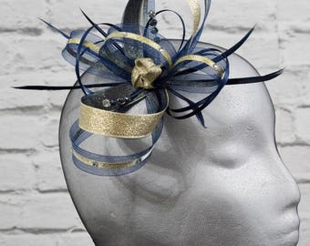 Navy blue fascinator with gold lurex trim and sparkling diamante  on a  comb 018c91923e3