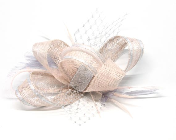 Blush pink and silver fascinator on a comb Alice band or  c2d941258c0