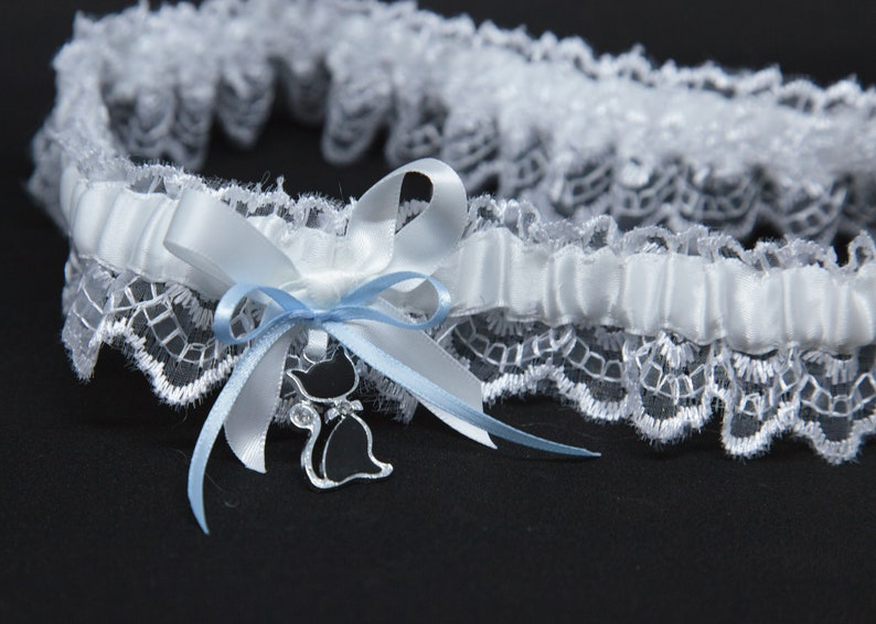 Wedding Garter with Lucky Black Cat charm Plus Size