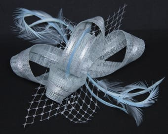 Pale ice blue and silver  fascinator on a comb, Alice band or clip.