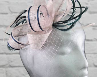 Blush pink and navy fascinator on a comb, Alice band or clip.