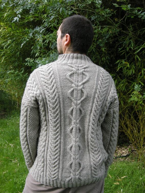 irish sweater - mens aran sweater - aran jumper - cable knit sweater - handknitted jumper - celtic mens sweater - luxury yak & merino yarn