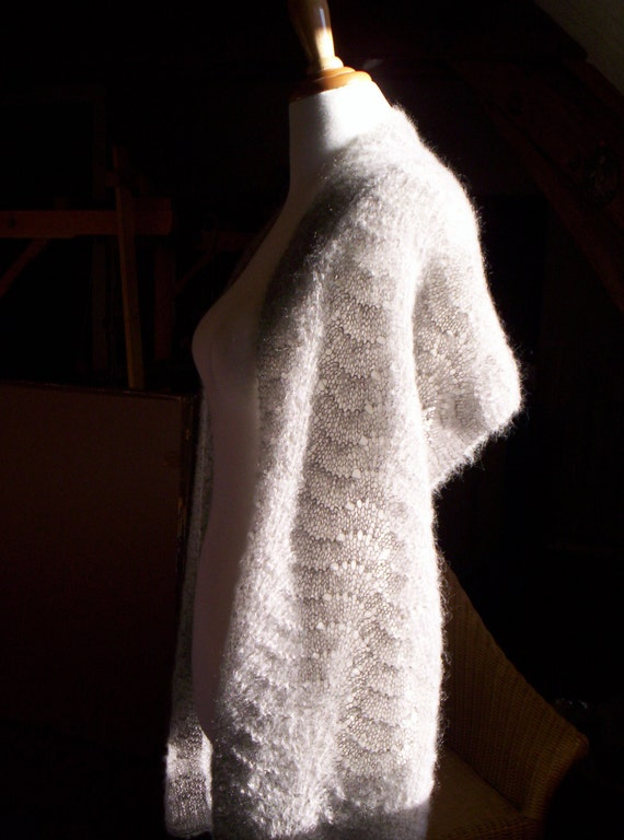 long mohair silk stole - lace wrap - wedding stole - handknit scarf - wedding wrap - mohair wrap - organic mohair & silk, natural dyed -
