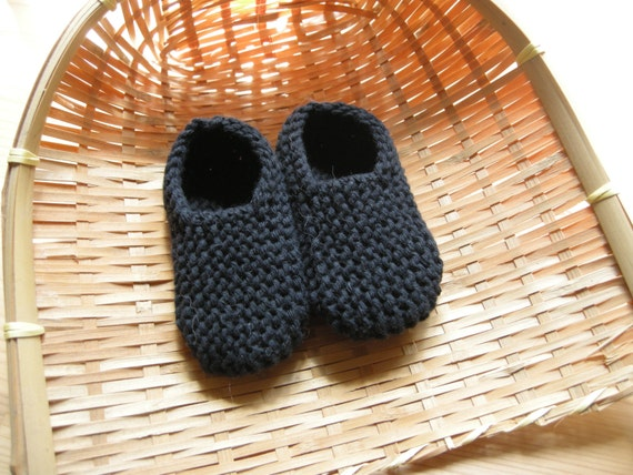 MANI - Baby slippers in pure cotton - black - 0/3 months - other colors made to order