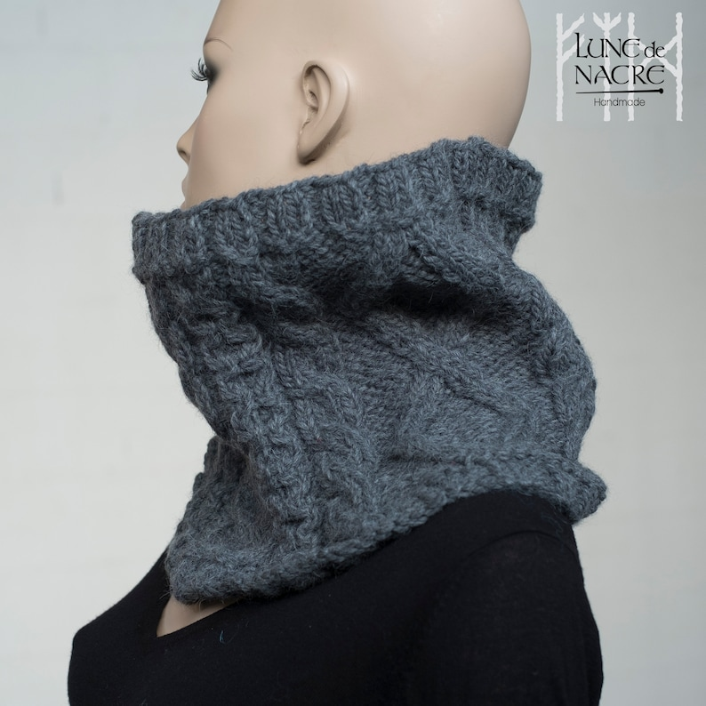 e05034857e Celtic chunky cable knit cowl - alpaca and wool - dark grey