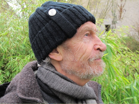 Fisherman beanie - fisherman's hat - wool beanie - wool hat - handknit beanie -winter hat - adult beanie - black hat - unisex ribbed beanie