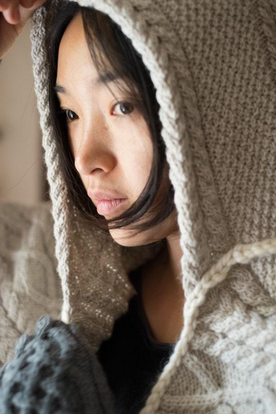 celtic shawl - aran shawl - hooded shawl  - irish cable shawl - handknit shawl - women's handknit shawl - handknit cable texture - beige