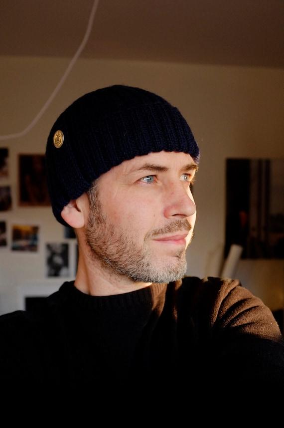Fisherman beanie - fisherman's hat - wool beanie - wool hat - handknit beanie -winter hat - adult beanie - navy blue - unisex ribbed beanie