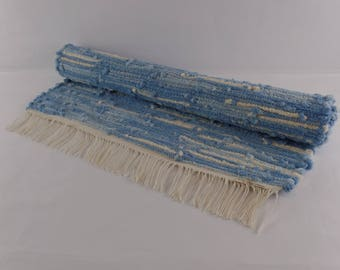 River, a handwoven rag rug, hand dyed and made especially for you. This rug is color/fast, wash/fast, and machine washable.