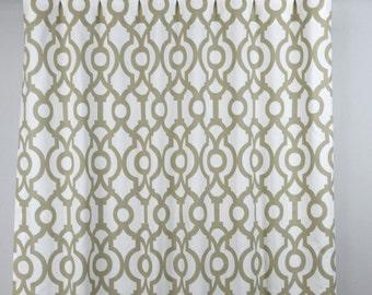 Ecru Taupe White Lyon Lattice Trellis Quatrefoil Curtains