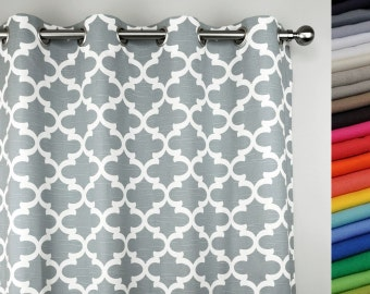 Ready To Ship (2) 50W x 84L  Grommet Curtains with Napped Sateen Lining- Ash Gray and Creamy White Fynn  Print