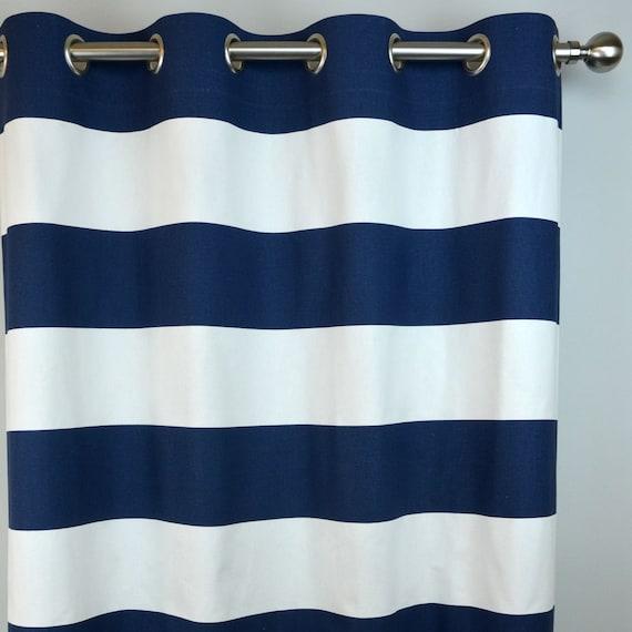 Navy White Horizontal Stripe Curtains, Navy Striped Curtains