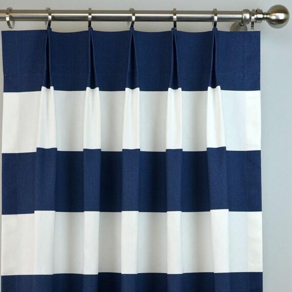 Navy Blue White Cabana Modern Wide, Navy Striped Curtains
