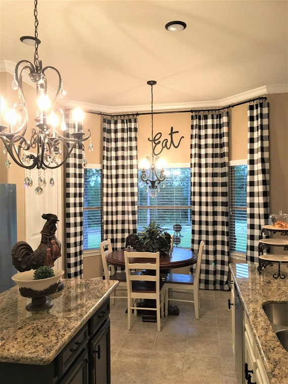 Black And Cream Ivory Buffalo Check Curtains 24 Width And