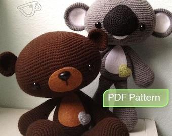Amigurumi Crochet PDF Pattern - Large Bear & Koala (Instant Download)