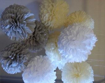 Tissue paper poms - Set of 90 poms..Weddings//Bridal Shower//Ceremony//Baptism Decor//Parties Decor//Baby Shower//Decorations