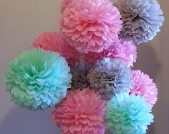 ON SALE...Tissue Paper Pom Poms Set of 9 - Girl Baby Shower//Birthday's Decor//Nursery//Parties decor