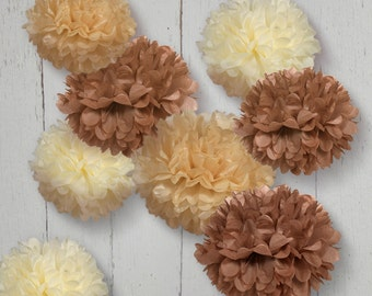 Tissue Paper Pom Poms - Set of 8 - Decorations//Weddings//Rustic Decor//Nursery//Anniversary