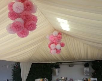 Tissue Paper Pom Pom - Baptism Decor//Parties Decor//Ceremony//Weddings//Receptions