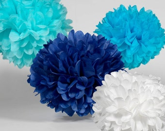 Tissue Paper Pom Poms - Set of 15 - BIrthday's Decor//Baby Shower//Decorations//Nursery//Parties Decor//Navy Decor