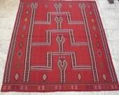 VINTAGE Handwoven Red Dyed Embroidered Turkish Kilim Rug Carpet ,Antique Kilim Rug,Decorative Floor Kilim Rugs ,Natural Wool,70.0x82.6 inch.
