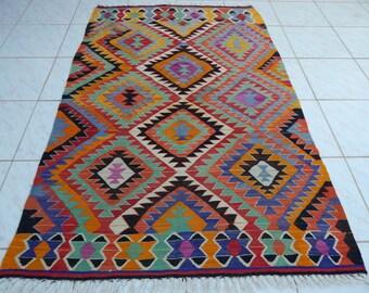6'x4' VINTAGE Handwoven Turkish Kilim Rug Carpet,Diamond Design Antique Turkish Area Colorful Kilim Rugs.Flatwoven Kelim Rugs,Floor Kilim