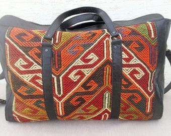 VINTAGE Handwoven Large Turkish Handmade Leather Kilim Shoulder Travel Bag,Big Bohemian Leather Kilim Travel Bag,Woven Kilim Leather Bags