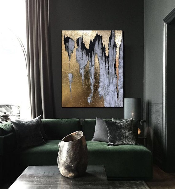 Noir Blanc Peinture Abstrait Grand Noir Or Peinture Art Etsy