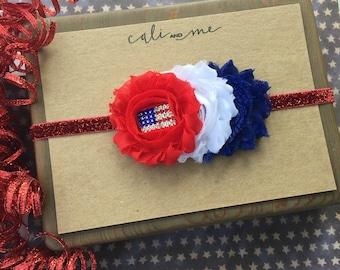 4th of July. Patriotic Headband. Baby Bow. Infant Headband. 4th of July Hair Bow. Baby Headband. Red White Blue Headband
