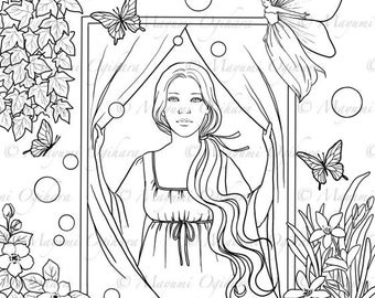 Dream Seekers - digital stamp, colouring page, printable, instant download