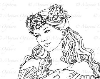 Celestial - digital stamp, colouring page, printable, instant download
