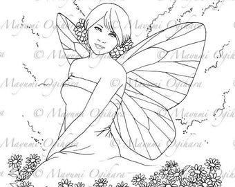 Butterfly Maiden - digital stamp, colouring page, printable, instant download