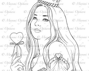 Queen of Heats - digital stamp, colouring page, printable, instant download
