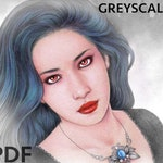 Gothic & Dark -  GREYSCALE colouring book by Mayumi Ogihara - 21 designs, colouring page, printable, instant download